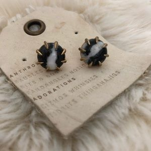 Anthropologie black/white marble studs